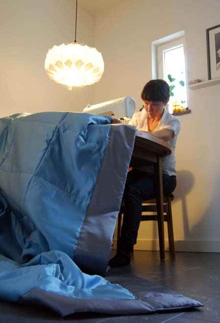 Me sewing a quilt for my bed.