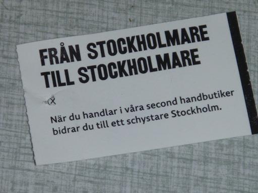Etikett från Stadsmissionen.